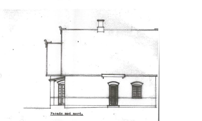 Facaden mod nord - gammel tegning