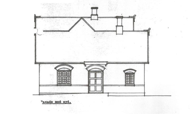 facaden mod syd - gammel tegning